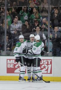 Stars react after goal (Photo by Glenn James/NHLI via Getty Images)