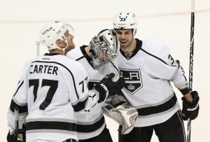 Kings celebrate Jones 1st NHL Victory  (Photo by Jeff Gross/Getty Images)