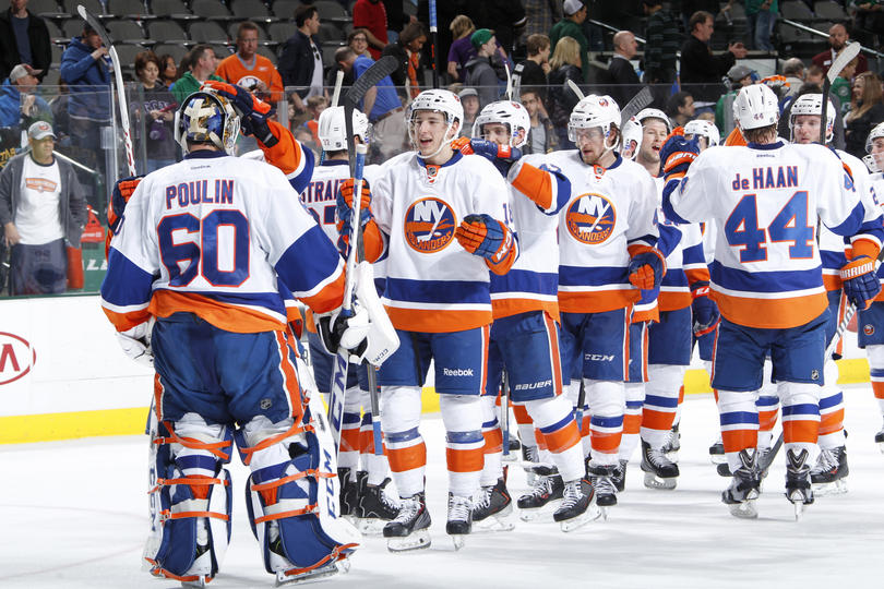 New York Islanders Celebrate Victory In Dallas. (Photo by Glenn James/NHLI via Getty Images)