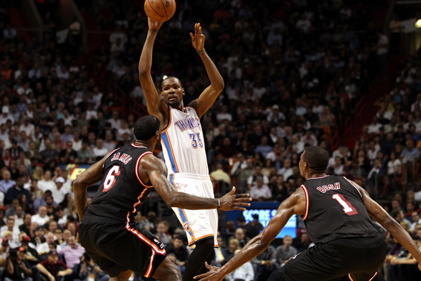 Kevin Durant scored 33 points in Oklahoma City's defeat of Miami. (Marc Serota/Getty Images Sport)