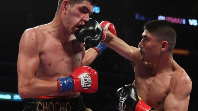 Mikey Garcia (R) connects with Rafael Guzman of Mexico during featherweight bout at Staples Center on June 4, 2011 in Los Angeles, California. (Photo by Jeff Gross/Getty Images) (2011 GETTY IMAGES)