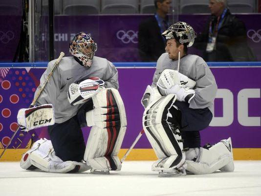 Ryan Miller and Jonathan Quick practice in Sochi. (Photo: Scott Rovak USA-Today Sports)