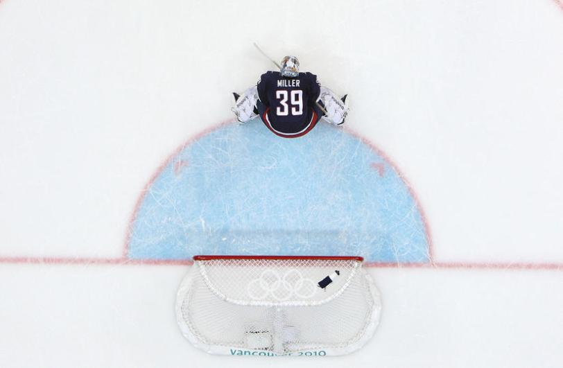 Goalkeeper Ryan Miller #39 of the United States is seen during the ice hockey men's semifinal game between the United States and Finland on day 15 of the Vancouver 2010 Winter Olympics at Canada Hockey Place on February 26, 2010 in Vancouver, Canada. (Photo by Harry How/Getty Images)