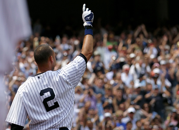 Derek Jeter takes a curtain call after getting his 3000th hit. (July 9, 2011) (Credit: David Pokress)
